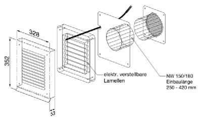 O+F Abluft-Mauerkasten aus Chromnickelstahl Elektronisch