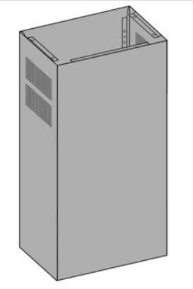 O+F Umluftschacht mit Lüftungsgitter im Abzugschacht für Kochinselhauben